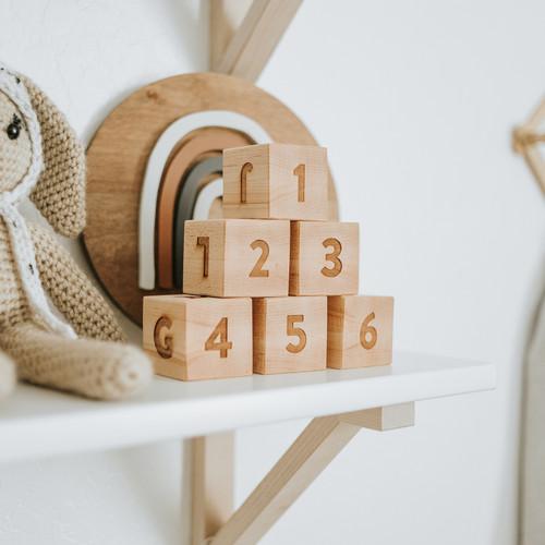 Modern Wooden Alphabet and Numeral Blocks
