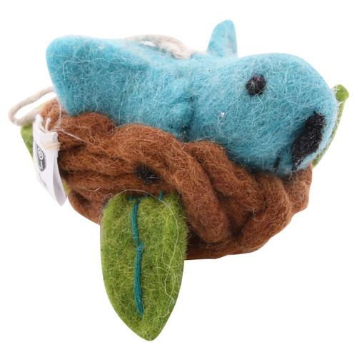 Fair Trade Felted Bird Ornament - Bluebird in Nest