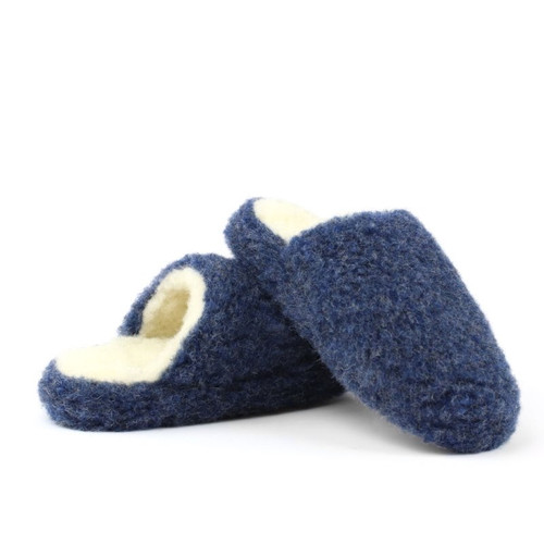 Sheep's Wool Slippers - Navy, Fits Sizes w8-9