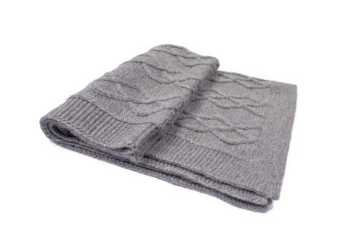 Hand Knit Alpaca Dog Blanket - Grey