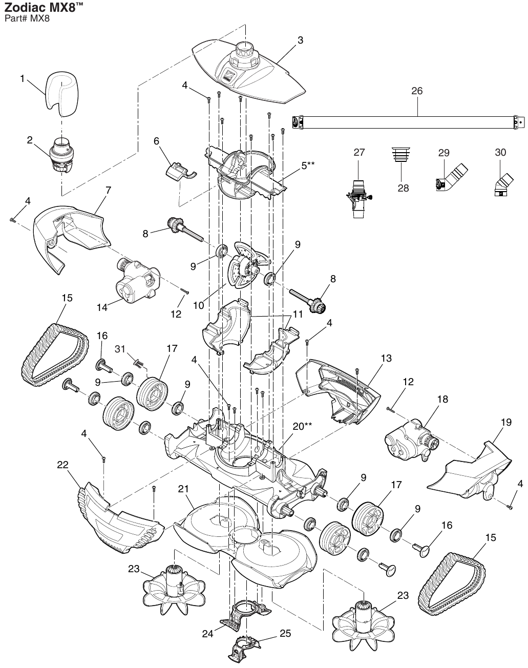 Waterway Clearwater Sand Filter Top Mount Parts Diagram