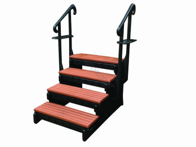 36 Quot Redwood 4 Tread Spa Step W Blk Frame
