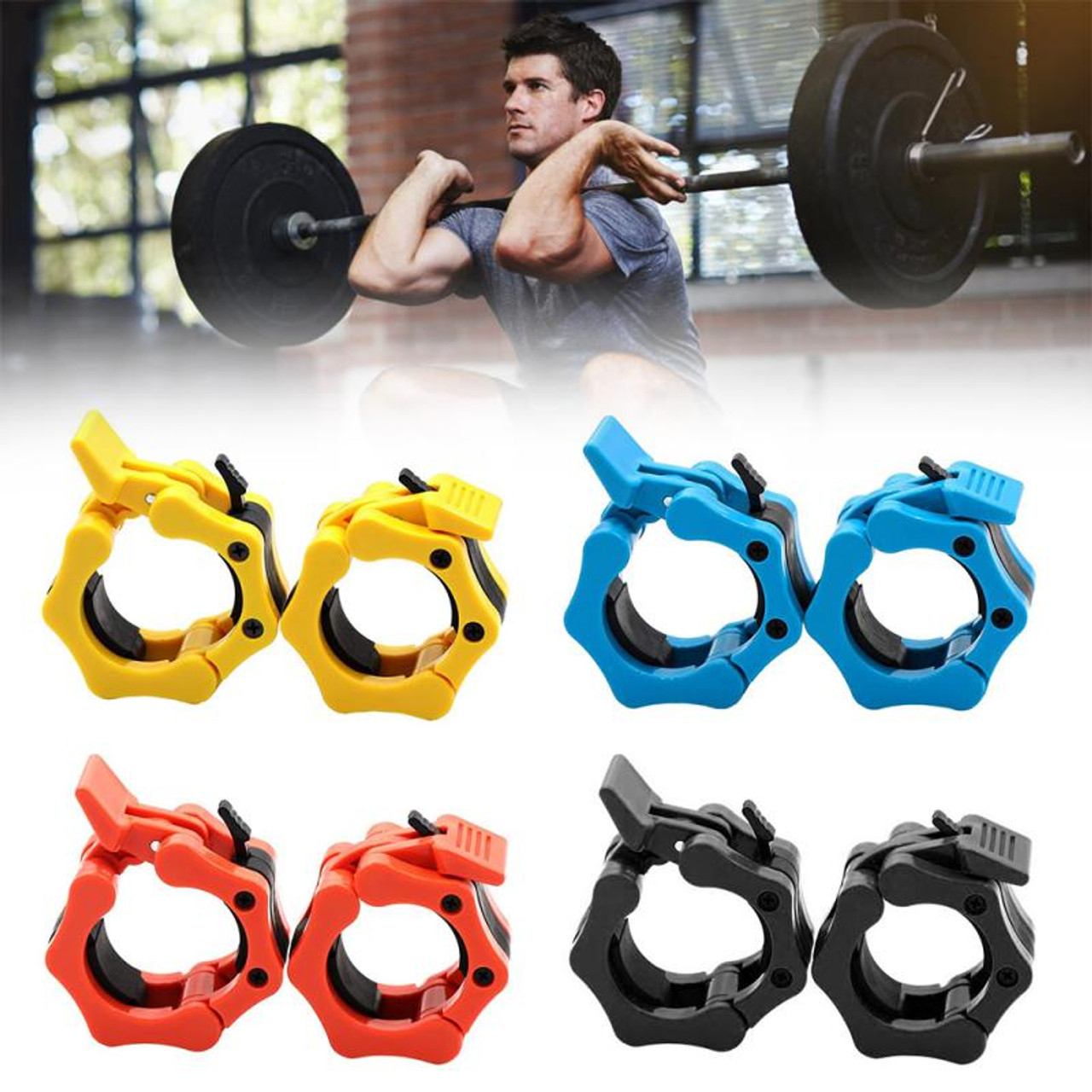 """1 Pair 1/"""" Olympic Spinlock Collars Dumbbell Barbell Bar Lock Weight Clips Clamp"""