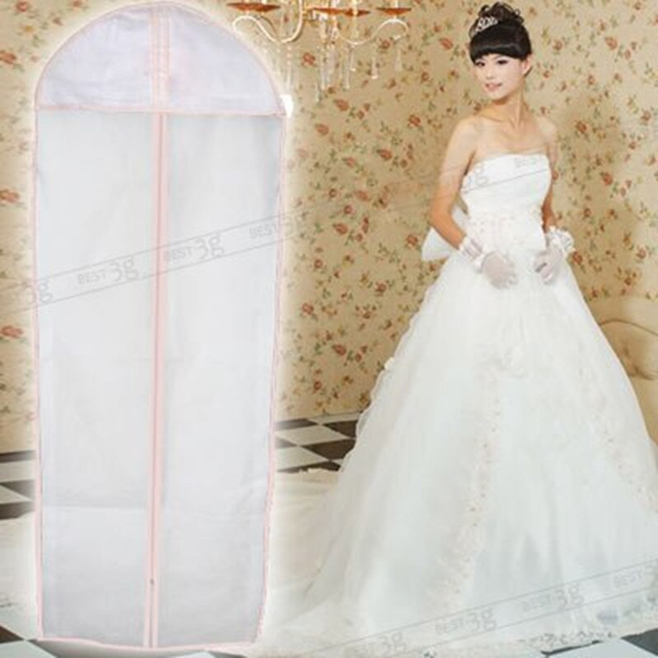 Breathable 6ft Wedding Dress Garment Cover Bridal Prom Ball Gown Protector Bag