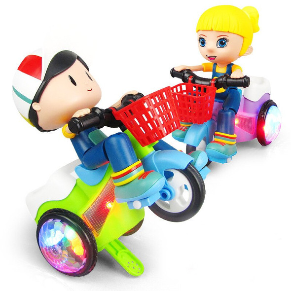 360 Degree Rotate Luminous Motorcycle Toy Music Stunt Cool Tricycle Car Baby Toys Easy to Use Best Xmas Gift For Children Kids
