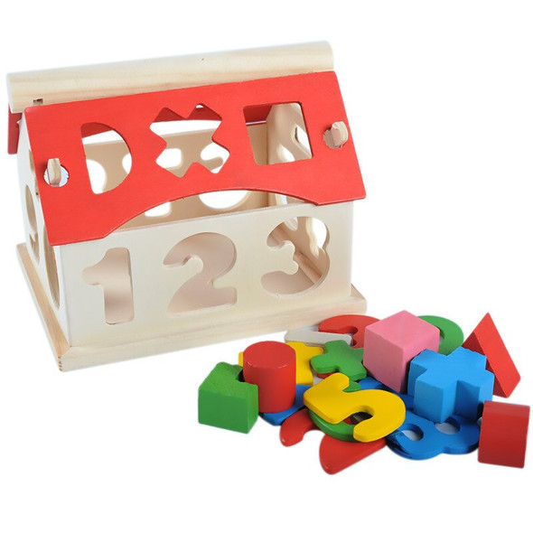 Wooden Toys House Number Shape Letter Learning Game Toy for Kids Children Developmental Educational Intellectual Block