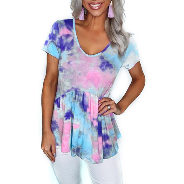 Women Summer Casual Tie-dye Printed Short Sleeve T-shirt Fashion Round Neck Loose Top Ruffle Female Gradient Color Tee D30