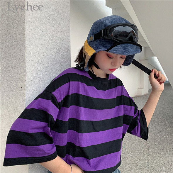 Lychee Trendy Hit Color Stripes Women T-Shirt Short Sleeve O-Neck Female Purple T Shirt Casual Loose Tee Top