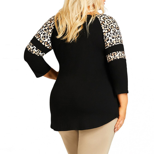 Leopard Printed Tops Women Plus Size Summer Three Sleeve T-shirts Ladies Casual Round Neck Tee Shirts Femme camisetas 6XL D30