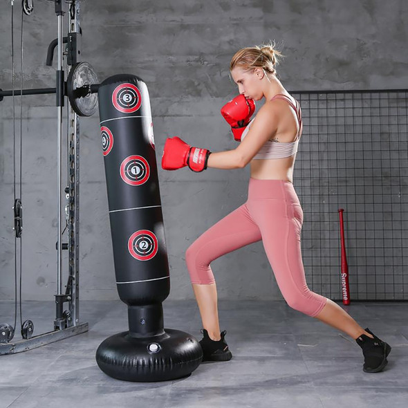 1.6M Inflatable Stress Punching Tower Bag Boxing Standing Tumbler Muay Training Pressure Relief Bounce Back Sandbag with Pump