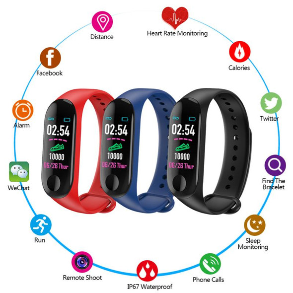 3 Colors Bluetooth Running Pedometer Fitness Tracker Bracelet Step Counter M3 Plus Fitness Heart Rate Watch Plus Blood Pressure