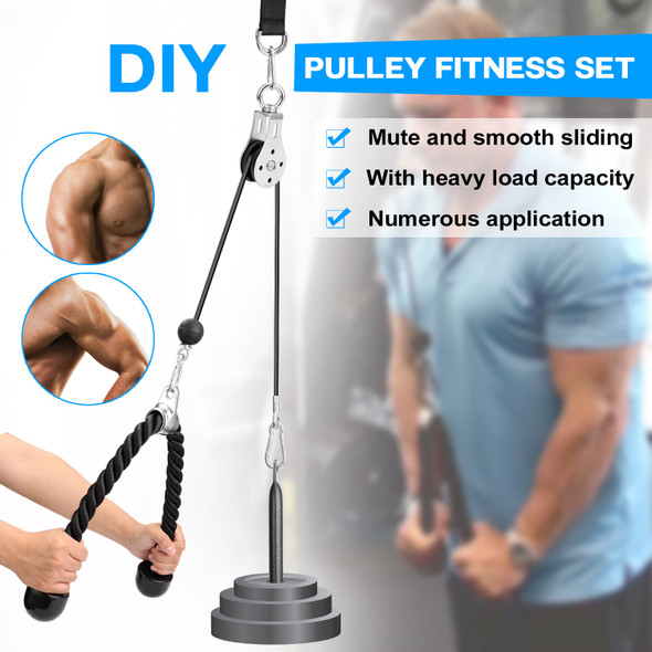 Fitness DIY Pulley Cable Machine Attachment System Pulley Fitness Set Hand Strength Training Pulley Fitness Set Cable Machine