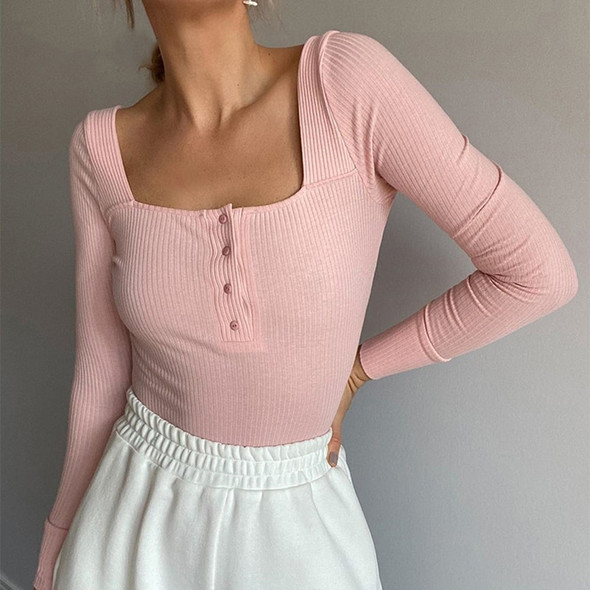 DOSSNI Bodysuit Long-Sleeve Sexy Ladies Fall Solid Mujer Knitted Winter Romper Button Skinny Tops Casual Streetwear Tees 2020