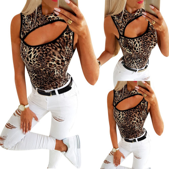 Sale 2020 Summer Fashion Sleeveless Tshirt Tops For Women Sexy Slim Fit Hollow Out Leopard Printed Ladies Tops Tee Club Wear Q30