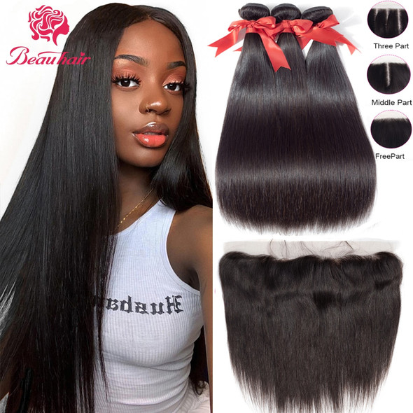 Human Hair Straight Bundles With Closure Brazilian Hair Bundles With Frontal Human Hair Frontal With Bundle Remy Hair Extension