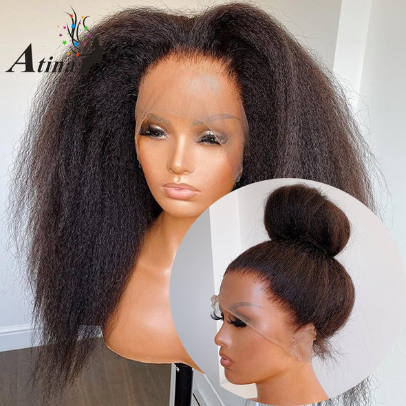 Atina 360 Lace Frontal Wig Pre Plucked with Baby Hair Kinky Straight HD Lace 250 Density Front Human Hair Wigs Black Women  Remy
