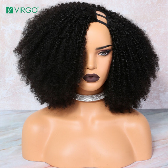 Virgo  Afro Kinky Curly U Part Wig Human Hair Wigs Brazilian Remy Glueless Wig PrePlucked For Black Women Natural Color