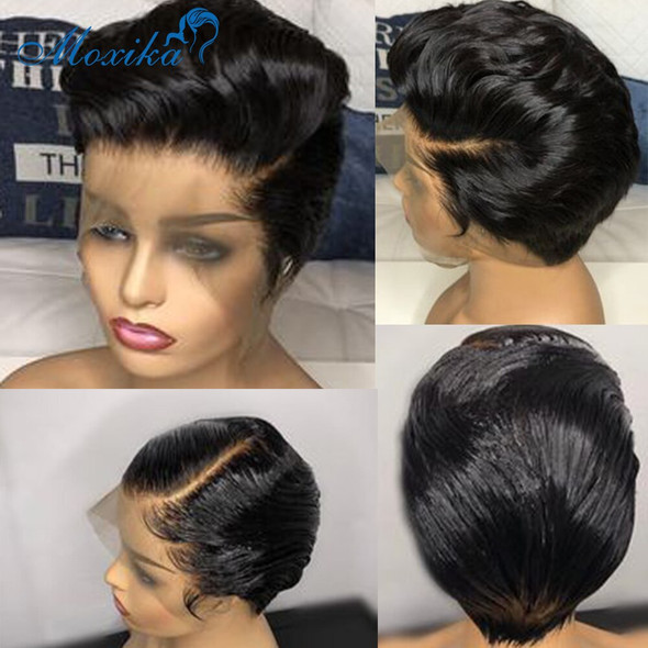 Pixie Cut wig Frontal Lace Wig Brazilian Wig Brown Lace Front Short Human Hair Wigs 150% Remy Short Wigs For Women Straight Wig