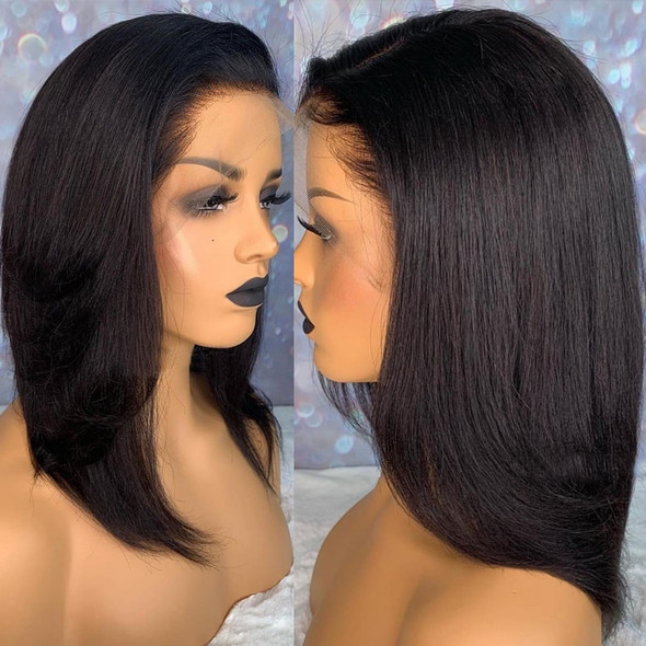 Blunt Cut Light Yaki Straight 13X6 Short Bob Full Lace Front Human Hair Wigs For Black Women Kinky Straight 360 Lace Frontal Wig