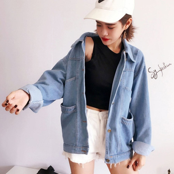 2018 New Ladies Classic Denim Coat Relaxed Fit Tops Long Sleeve Loose Women Denim Jackets Turn-down Collar Girls Outwears