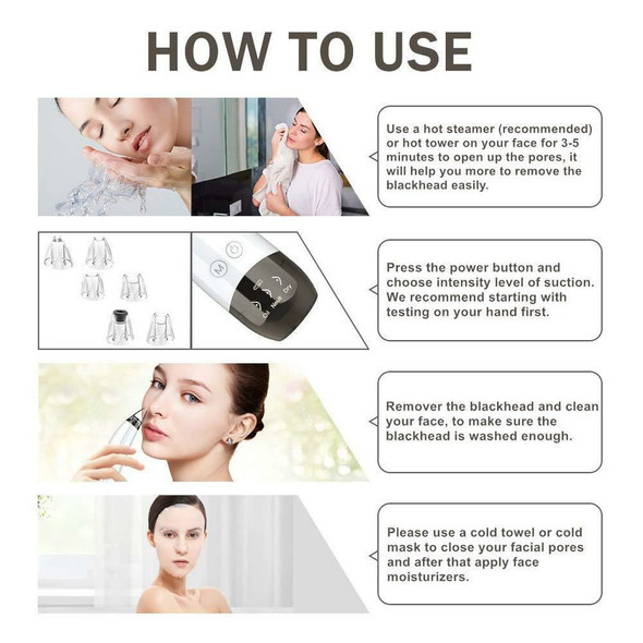 6-in-1 Blackhead Remover Blackhead Acne with 6 Tips Facial Nose Pore Cleansing Electric Suction Blackhead Acne Pore Cleanser