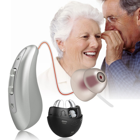 1 Pair Portable Rechargeable  Hearing Aids BTE Hearing Loss Sound Amplifier Armature Driver Adjustable Tone For Deaf Elderly