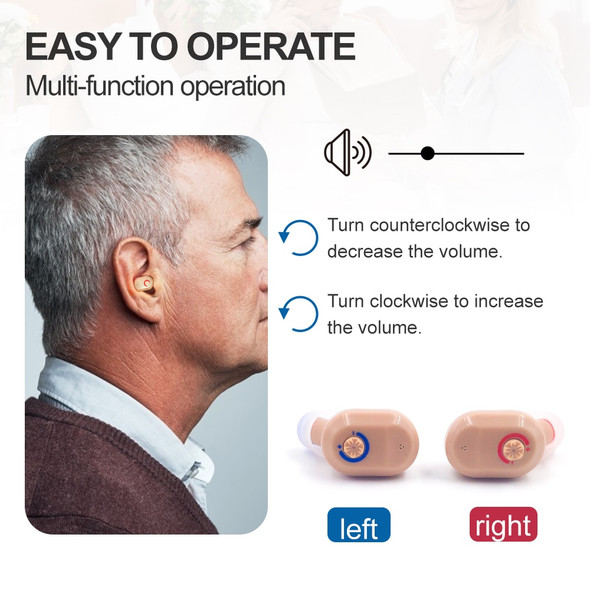 1 Pair  Mini ITE Invisible Hearing Aids USB Rechargeable  Simple Better Hearing Sound Amplifier Enhance  For Deaf Elderly