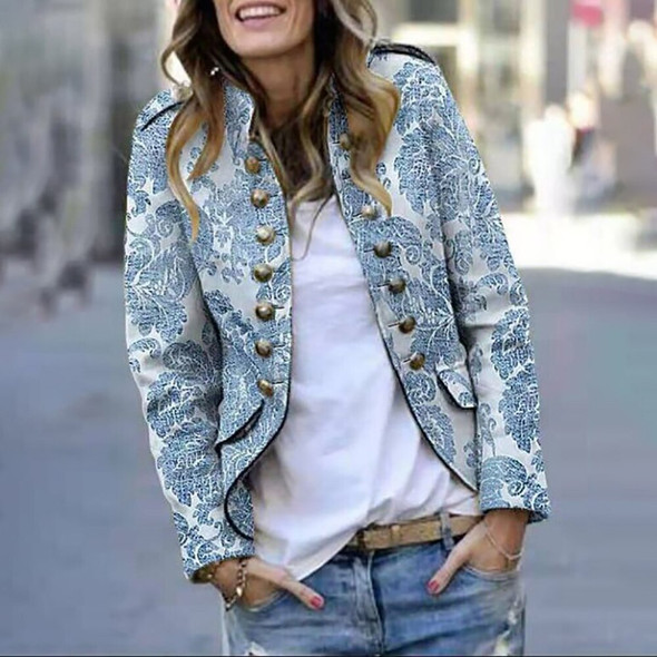 Floral Printed Jacket Coat Women Winter Long Sleeve Double Breasted Jacket Casual Stand Collar Female Jackets D30