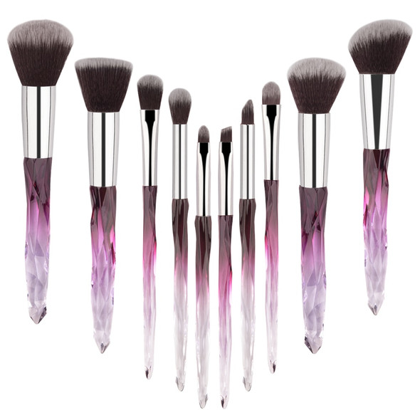 10 pcs Hot Styles 2019 Crystal Handle Makeup Brush Powder Foundation Brush Cosmetic Lip Brush Eyeshadow Brush Make up Brush Kits