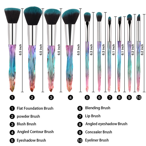 10 pcs Hot Styles 2019 Makeup Brush Powder Blush Foundation Brush Cosmetic Tool  Crystal Handle Brush Make up Brush Kits