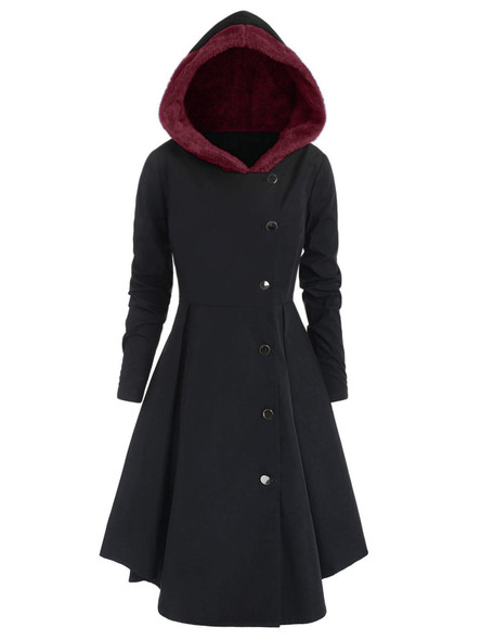 2020 New Fashion Gothic Vintage Mid-long Trench Hooded Coat Women Black Slim Button Cloak Mujer Windbreaker Female Outerwear D30