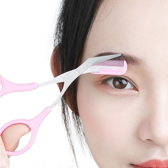 1 Pcs Korean Style Eyebrow Scissors Eyebrow Trimming Artifact Comb Scissors Two-In-One Set Beauty Tools