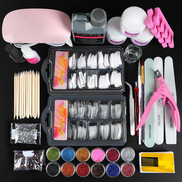 Nail Acrylic Powder Glitter Manicure Set With Lamp For Nail Extension Kit 120ML Acrylic Liquid For Manicure Nail Art Manicure