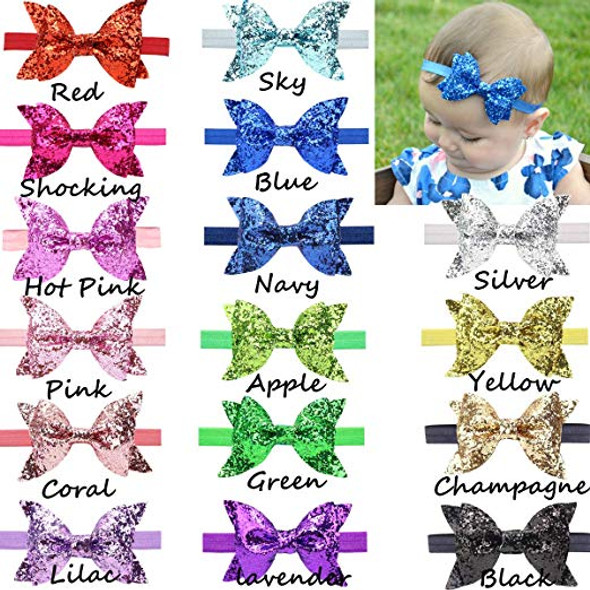 """15 Pcs Baby Girls Headbands Big Glitter Sequins 4"""" Hair Bows Soft Bands for Infant Newborn and Toddlers"""