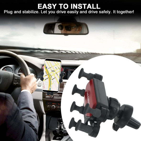 Car Phone Holder Air Vent Clip Mount Gravity Mobile Phone Bracket GPS Stand 6 Point Silicone Bracket