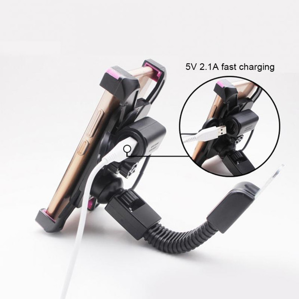 12V to 5V Adapter Fast Charging Motorcycle Electrobike Car Motorbike Mount Phone Holder USB Charging Stand Bracket Stock Clip