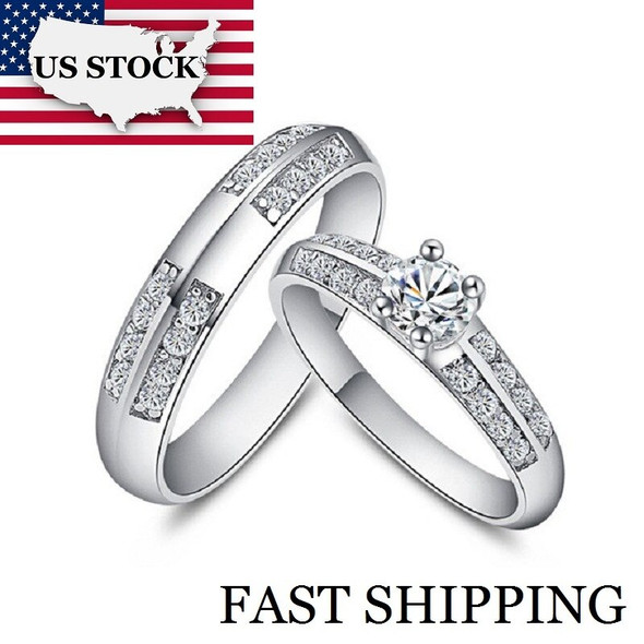 A Pair Couple Wedding Rings Set for Men and Women Silver Color