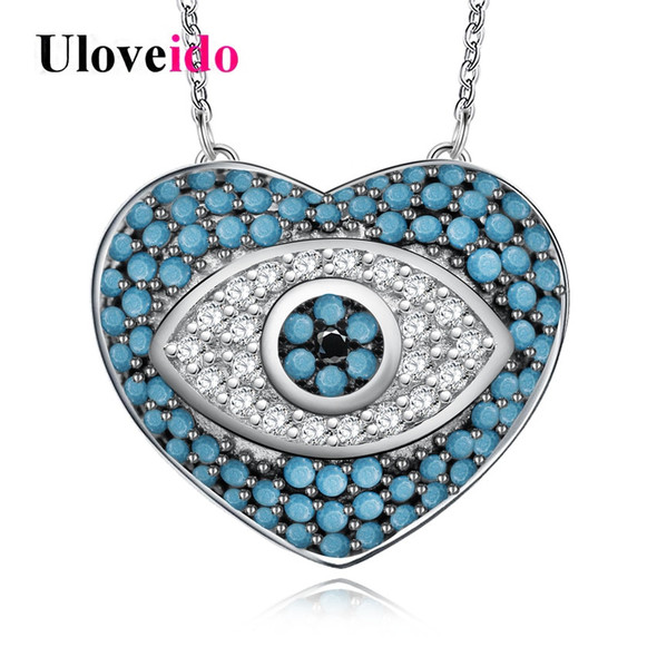 Uloveido Evil Eye Necklaces & Pendants Blue Cubic Zirconia Necklace Women Chain Heart Necklace with An Eye Jewelry 5% Off Y319
