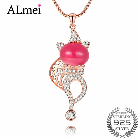 Almei 2018 Cute 925 Sterling Silver Pink Chalcedony Fox Animal Pendant Necklace Women Jewelry for Halloween Christmas Gift CN017
