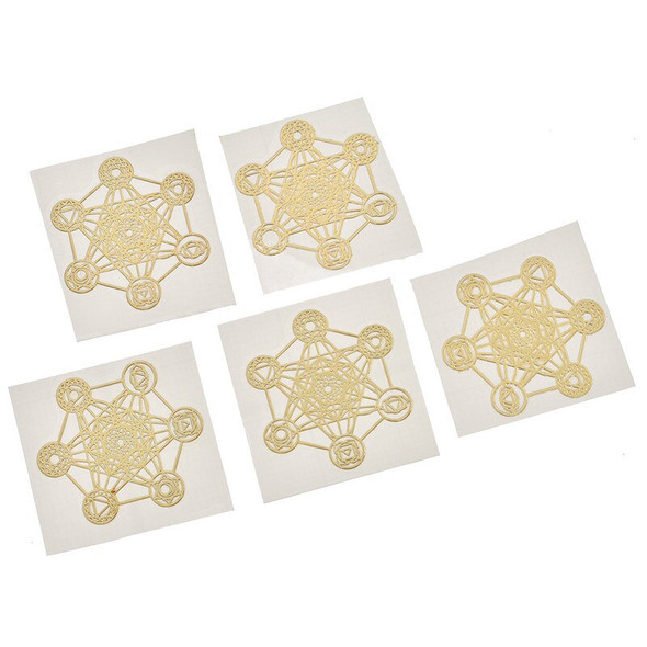 5pcs Copper Scrap Geometry Sticker Greetings Wishes Star Dragon Wall Stickers Modern Home Window Car Phone Metal Energy Stickers