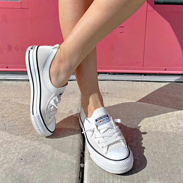 New Arrivals 2020 Low Top Fashion Sneakers Black White Casual Canvas Shoes Mesh Knit Slip On Sneaker Flats Summer Size 36-42