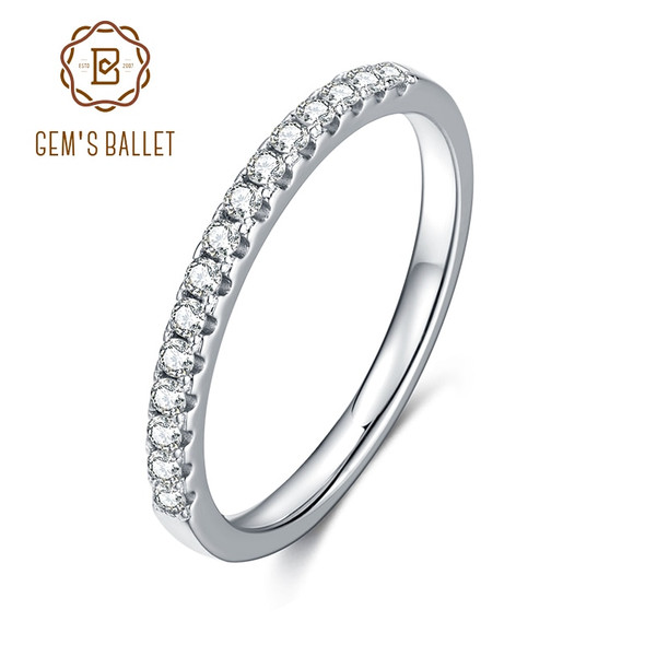 GEMS BALLET Sterling 925 Silver Half Eternity 1.5mm Moissanite Band Ring Anniversary Band Rings For Women Wedding Jewelry