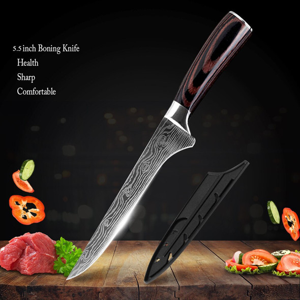 Kitchen Knives Set Damascus Stainless Steel Kitchen Knife Meat Fish Vegetable Color Wood Handle Cutting Tool