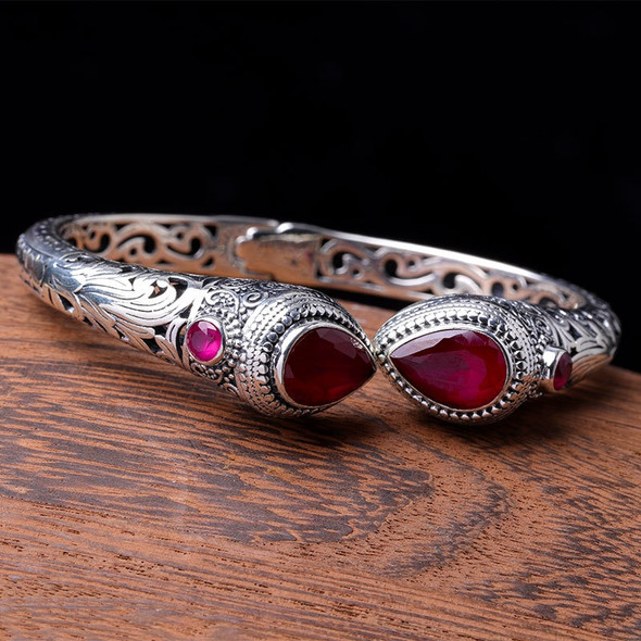 S925 Sterling Silver Ornament Indonesian Style Womens Hollow Cut Red Corundum Bracelet