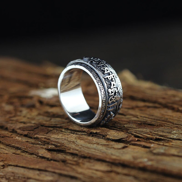 S925 Sterling Silver Ornament Cool Mens Six-Character Mantra Rotating Ring