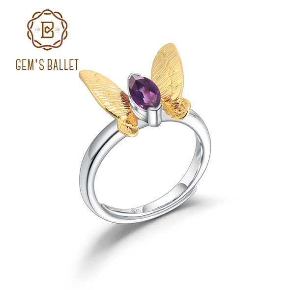 GEMS BALLET 925 Sterling Silver Adjustable Open Handmade Ring Natural Amethyst Gemstone Butterfly Rings For Women Jewelry