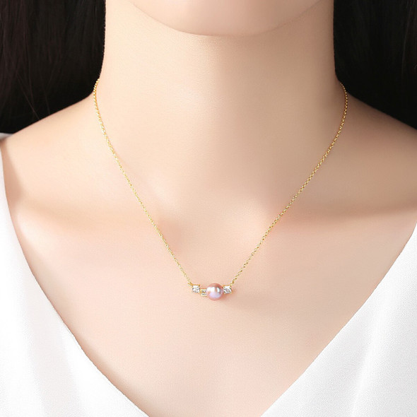 S925 Sterling Silver Freshwater Pearl Necklace Womens Clavicle Chain