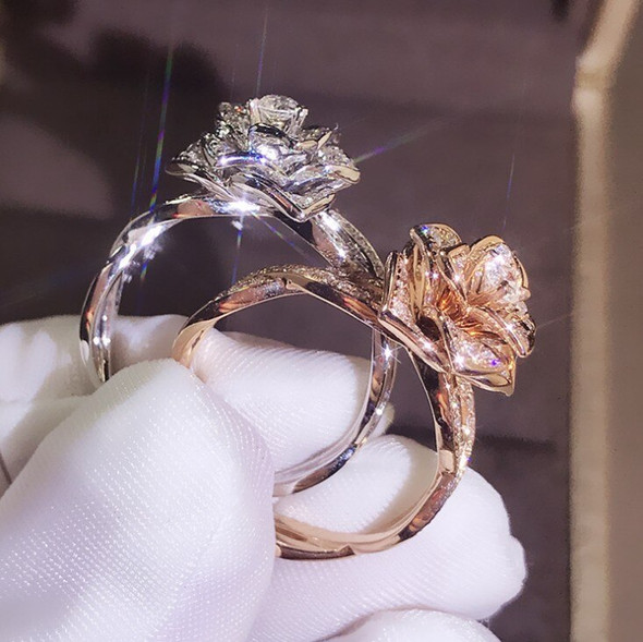 Uloveido Rose Gold & Platinum Plated Rose Flower Rings Infinity Band Wedding Promise Ring for Women Y957