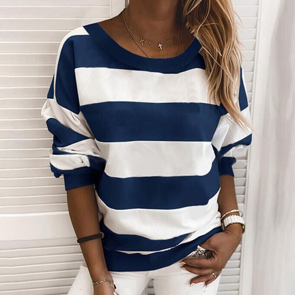 Womens Autumn Tops Casual Girls Striped Pullovers Round Neck Long Sleeve Loose Fit Spring Tops for Female Plus Size XXL Tops D30