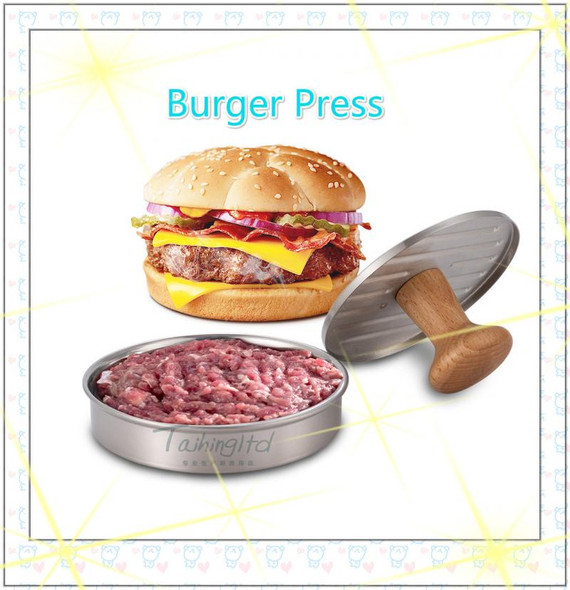 5 Inch Meat Patties Mold Burger Pressure Mold Stainless Steel 304 Meat Presser Beech Wood Handle Kitchen Tools
